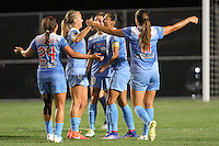 Piscataway, NJ - Saturday Aug. 27, 2016: Danielle Colaprico, Alyssa Mautz, Christen Press celebrates scoring, Sofia Huerta during a regular season National Women's Soccer League (NWSL) match between Sky Blue FC and the Chicago Red Stars at Yurcak Field.