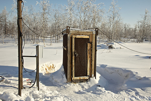 """The """"Toilet from Hell"""" in the icy tundra at Achimgaz gas drilling well in Novy Urengoi, Siberia, Russia."""