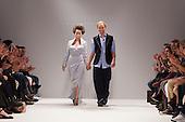 LONDON, ENGLAND - London Fashion Week, Actress Anna Popplewell with designer Elliott J. Frieze, S/S 2011 collection by designer Elliott J. Frieze