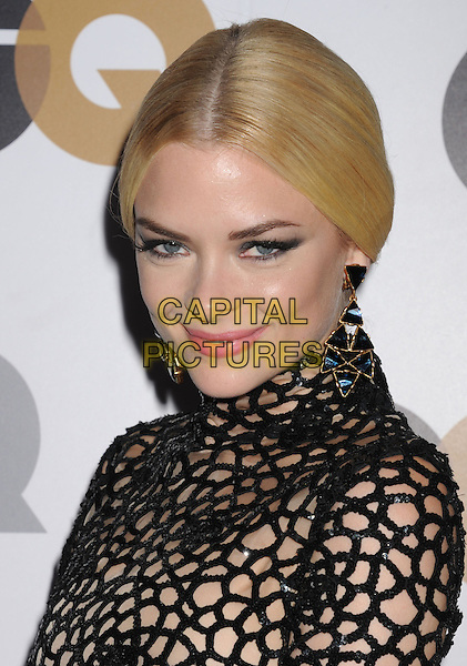 Jaime King.Arriving at the GQ Men Of The Year Party at Chateau Marmont Hotel in Los Angeles, California, USA..November 13th, 2012.headshot portrait dangling gold earrings  black lace netting top high collar .CAP/ROT/TM.©Tony Michaels/Roth Stock/Capital Pictures