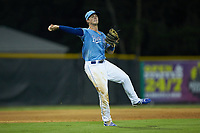 Burlington Royals third baseman Jake Means (9) makes a throw to first base against the Danville Braves at Burlington Athletic Stadium on August 9, 2019 in Burlington, North Carolina. The Royals defeated the Braves 6-0. (Brian Westerholt/Four Seam Images)
