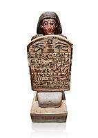 Ancient Egyptian stelophorus statue of Amenemipet, limestone, New Kingdom, 18th Dynasty, (1539-1292 BC), Deir el Medina, tomb of Ibu. Egyptian Museum, Turin. Cat 3038. white background
