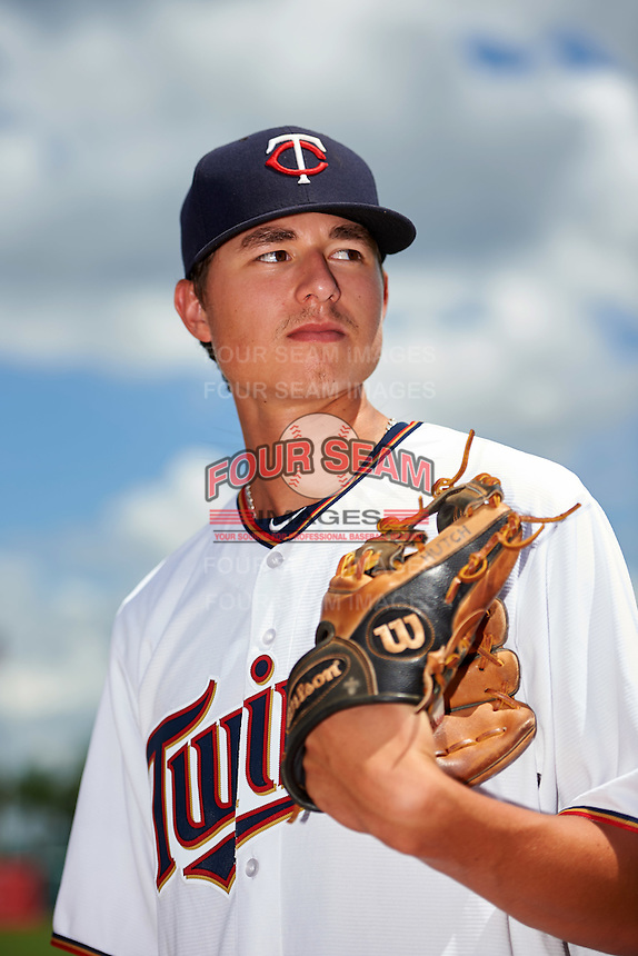 GCL Twins pitcher Jordan Balazovic (57) poses for a photo after a game against the GCL Orioles on August 11, 2016 at the Ed Smith Stadium in Sarasota, Florida.  GCL Twins defeated GCL Orioles 4-3.  (Mike Janes/Four Seam Images)