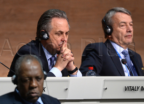 FIFA Executive Committee Member Vitaly Mutko (L) sits next to Wolfgang Niersbach, former president of the German Football Association DFB during the Extraordinary FIFA Congress 2016 at the Hallenstadion in Zurich, Switzerland, 26 February 2016. The Extraordinary FIFA Congress is being held in order to vote on the proposals for amendments to the FIFA Statutes and choose the new FIFA President.