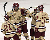 Steven Whitney (BC - 21), Michael Matheson (BC - 5), Johnny Gaudreau (BC - 13), Pat Mullane (BC - 11) - The Boston College Eagles defeated the visiting University of Vermont Catamounts to sweep their quarterfinal matchup on Saturday, March 16, 2013, at Kelley Rink in Conte Forum in Chestnut Hill, Massachusetts.