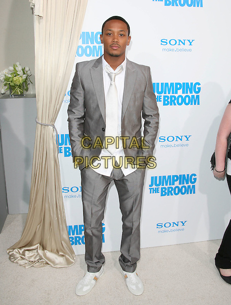 ROMEO (Percy Romeo Miller, Jr.).at The Screen Gems L.A. Premiere of Jumping the Broom held at The Cinerama Dome Theatre in Hollywood, California, USA, May 4th 2011..full length suit hands in pockets white tie grey gray silver goatee facial hair .CAP/RKE/DVS.©DVS/RockinExposures/Capital Pictures.