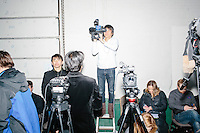 An NTV Tokyo news crew prepares to cover the event before Vermont senator and Democratic presidential candidate Bernie Sanders speaks to senior citizens at the Peterborough Community Center gymnasium in Peterborough, New Hampshire.