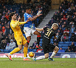 16.02.2020 Rangers v Livingston: Alfredo Morelos with Ricki Lamie and keeper Ryan Schofield