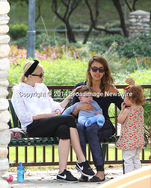 Pictured: Jaime King, James, Jessica Alba, Haven<br /> Mandatory Credit &copy; ACLA/Broadimage<br /> Jessica Alba and Jaime King enjoying the day at Coldwater Canyon Park<br /> <br /> 3/29/14, Beverly Hills, California, United States of America<br /> <br /> Broadimage Newswire<br /> Los Angeles 1+  (310) 301-1027<br /> New York      1+  (646) 827-9134<br /> sales@broadimage.com<br /> http://www.broadimage.com