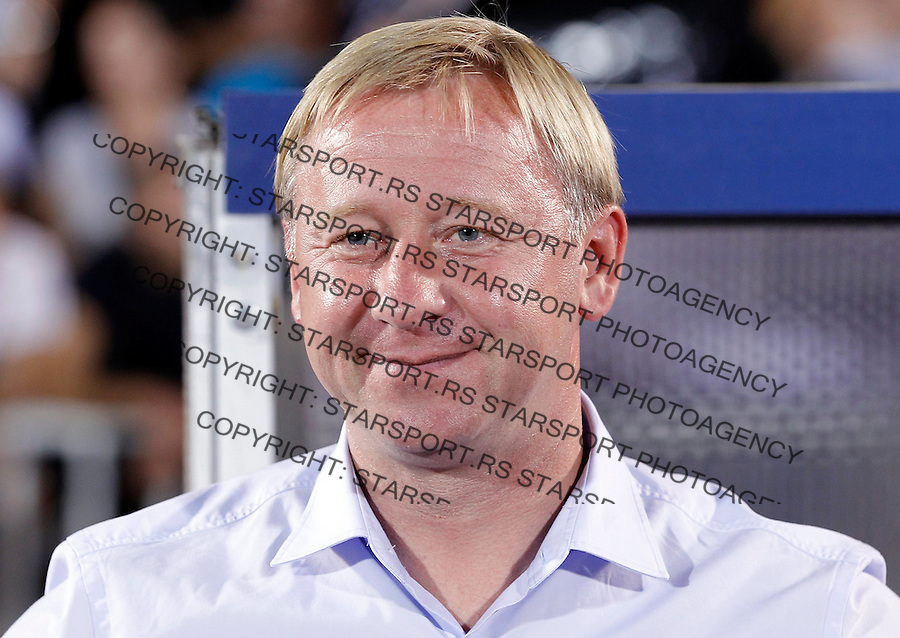 BELGRADE, SERBIA - AUGUST 26. Head coach Aleksandr Ermakovich of BATE looks on prior the UEFA Champions League Qualifying Round Play Off Second Leg match between Partizan Belgrade and BATE at Partizan stadium in Belgrade, Serbia on Wednesday, August 26, 2015. (Photo by Srdjan Stevanovic/Getty Images)