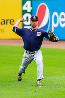 Lake County Captains pitcher Matt Esparza (33) warms up prior to a Midwest League game against the Wisconsin Timber Rattlers on July 24, 2016 at Fox Cities Stadium in Appleton, Wisconsin. Lake County defeated Wisconsin 6-2. (Brad Krause/Four Seam Images)