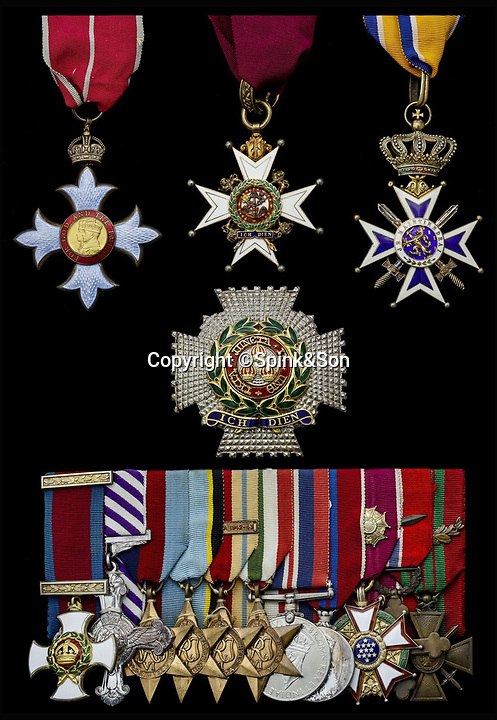 BNPS.co.uk (01202 55883&pound;)<br /> Pic: Spink&amp;Son/BNPS<br /> <br /> Kenneth Cross's medals.<br /> <br /> The remarkable archive of an RAF officer who was one of six out of 37 men to survive three days adrift in the freezing Arctic Ocean have come to light.<br /> <br /> Sir Kenneth Cross had already cheated death by dodging a bullet aimed for his head in the cockpit of his plane when the aircraft carrier he was on was attacked and sunk.<br /> <br /> He plunged into the icy sea and was one of 37 survivors to make it into a lifeboat. With hardly any food or water on board, most of the shipwrecked men died from exposure over the next 70 hours.<br /> <br /> Now a water-stained diary he kept while shipwrecked, his RAF log book and 16 medals are coming up for sale at auctioneers Spink of London.