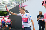 Maglia Bianca Hugh John Carthy (GBR) EF Education First at sign on before the start of Stage 13 of the 2019 Giro d'Italia, running 196km from Pinerolo to Ceresole Reale (Lago Serrù), Italy. 24th May 2019<br /> Picture: Gian Mattia D'Alberto/LaPresse | Cyclefile<br /> <br /> All photos usage must carry mandatory copyright credit (© Cyclefile | Gian Mattia D'Alberto/LaPresse)