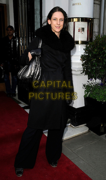 MARIA GRACHVOGEL.The Cadogan Hotel's 120th anniversary party, 75 Sloane St., London, England..April 15th, 2008.full length black coat fur collar trousers bag purse gloves .CAP/CAN.©Can Nguyen/Capital Pictures.