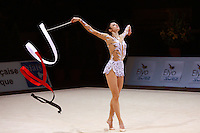 Anna Bessonova of Ukraine ballerina steps with ribbon during event finals at 2006 Thiais Grand Prix in Paris, France on March 26, 2006.  (Photo by Tom Theobald)