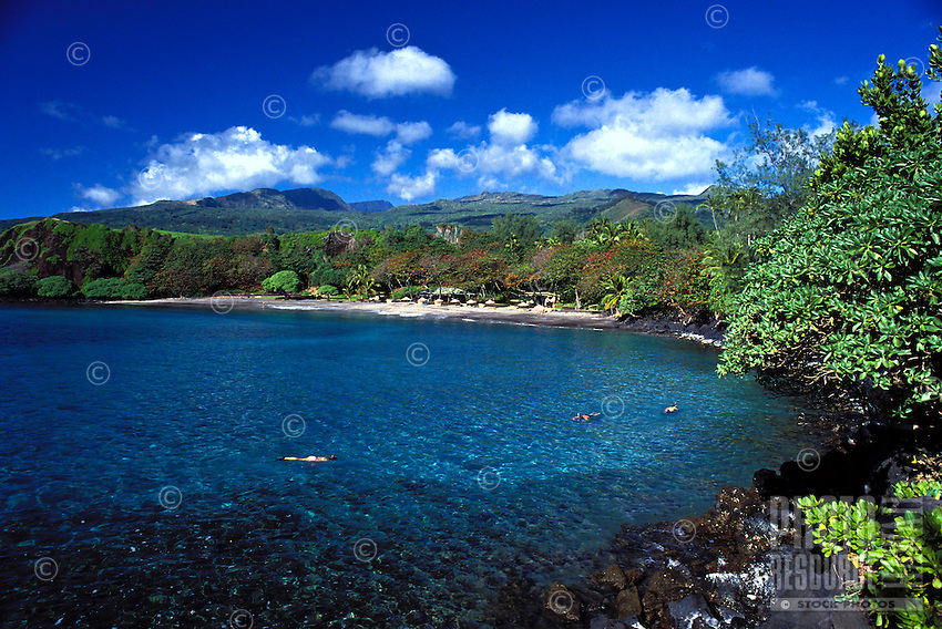 Snorkelers enjoy clear water at Hamoa Beach,Hana, Maui.