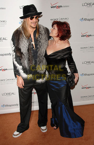 KID ROCK & SHARON OSBOURNE.attends The Clive Davis Pre-Grammy Party .held at The Beverly Hilton Hotel in Beverly Hills, California, USA,  February 10 2007..full length hat grey fur gilet scarf trainers sunglasses off the shoulder black dress blue skirt.CAP/DVS.©Debbie VanStory/Capital Pictures
