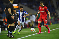 27th February 2020; Dragao Stadium, Porto, Portugal; UEFA Europa League  FC Porto versus Bayer Leverkusen; Jesús Corona of FC Porto and Daley Sinkgraven of Bayer Leverkusen challenge for the ball along the wing