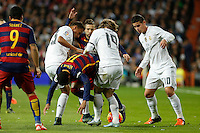 Real Madrid´s Danilo, James and Luka Modric and Barcelona´s Neymar Jr (C) during 2015-16 La Liga match between Real Madrid and Barcelona at Santiago Bernabeu stadium in Madrid, Spain. November 21, 2015. (ALTERPHOTOS/Victor Blanco) /NortePhoto