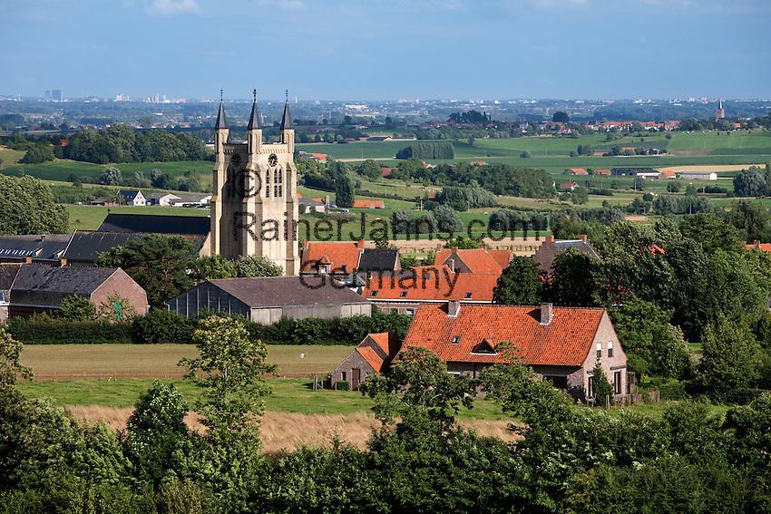 Belgium, West Vlaanderen. Saint Peters Church in Loker. Village in Heuvelland area, scene of fierce WW1 battles