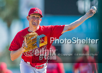 6 March 2016: St. Louis Cardinals pitcher Dean Kiekhefer warms up prior to a Spring Training pre-season game against the Washington Nationals at Roger Dean Stadium in Jupiter, Florida. The Nationals defeated the Cardinals 5-2 in Grapefruit League play. Mandatory Credit: Ed Wolfstein Photo *** RAW (NEF) Image File Available ***