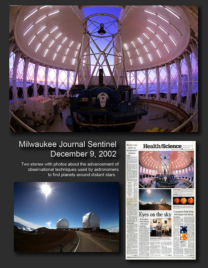 I wrote two stories and took photos about advances in observational techniques used at the advanced observatories on top on Mauna Kea, Hawaii.