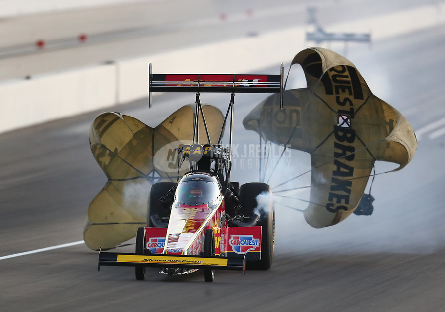Nov 1, 2019; Las Vegas, NV, USA; NHRA top fuel driver Brittany Force during qualifying for the Dodge Nationals at The Strip at Las Vegas Motor Speedway. Mandatory Credit: Mark J. Rebilas-USA TODAY Sports