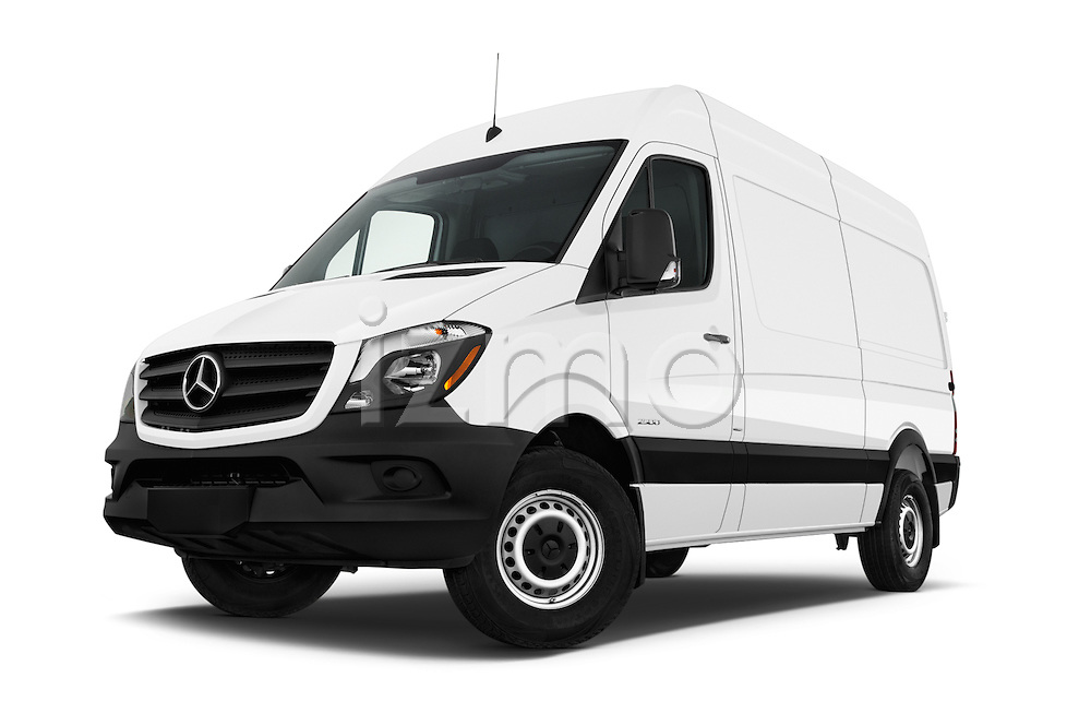 Stock pictures of low aggressive front three quarter view of 2017 Mercedes Benz Sprinter 2500-144-WB-High-Roof 4 Door Cargo Van Low Aggressive
