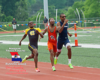 Hazelwood Central junior Marcus Davis (left), Ritenour senior Ra'shad Harris (center), and McCluer North's Nicholas Stewart sprint to the finish of the boys 800 meters at the Class 4 Sectional 2 Track and Field Championships at Parkway North High School, St. Louis, MO. Saturday, May 18. Davis came from behind to win in a dramatic finish that proved to be one of  best 800 races of the season with all three going under 1:56. Davis won in 1:54.89, Stewart was second in 1:55.22, and Harris was third in 1:55.76.
