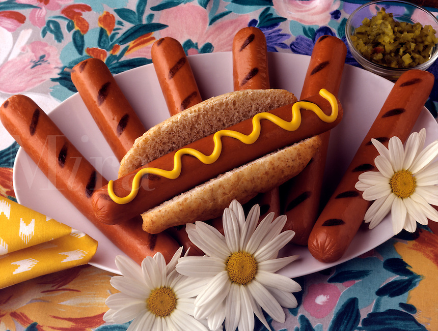 A plater of hot dogs