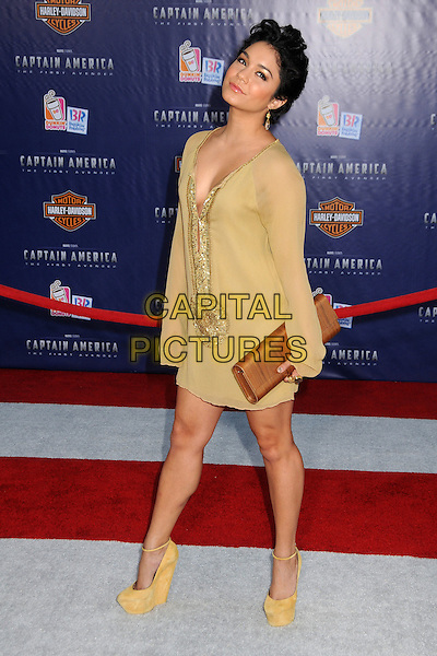 "Vanessa Hudgens.Premiere of ""Captain America: The First Avenger"" held at The El Capitan Theatre in Hollywood, California, USA..July 19th, 2011.full length yellow gold beige sheer short cropped hair sequins sequined tunic dress brown clutch bag wood wooden print ankle strap platform shoes .CAP/ADM/BP.©Byron Purvis/AdMedia/Capital Pictures."