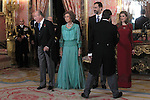 Prince Felipe of Spain, Princess Letizia of Spain, Queen Sofia of Spain and King Juan Carlos of Spain attends the reception of the diplomatic corps in Spain at Palacio Real. January 23, 2013. (ALTERPHOTOS/Caro Marin)