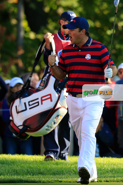 Patrick Reed US Team chips onto the 5th green and holes it during Saturday Morning Foursomes Matches of the 41st Ryder Cup, held at Hazeltine National Golf Club, Chaska, Minnesota, USA. 1st October 2016.<br /> Picture: Eoin Clarke | Golffile<br /> <br /> <br /> All photos usage must carry mandatory copyright credit (&copy; Golffile | Eoin Clarke)