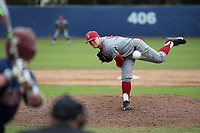 Trenton Dupre (12) of the Washington State Cougars pitches against the Loyola Marymount Lions at Page Stadium on February 26, 2017 in Los Angeles, California. Loyola defeated Washington State, 7-4. (Larry Goren/Four Seam Images)