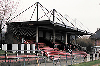 The main stand at Fisher Athletic FC Football Ground, Surrey Docks Stadium, Rotherhithe, London, pictured on 5th February 1995