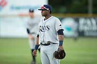 Princeton Rays first baseman Devin Davis (32) on defense against the Burlington Royals at Burlington Athletic Stadium on August 12, 2016 in Burlington, North Carolina.  The Royals defeated the Rays 9-5.  (Brian Westerholt/Four Seam Images)