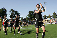 Brandi Chastain acknowledges fans after the game. FC Gold Pride defeated the Boston Breakers 2-1 at Buck Shaw Stadium in Santa Clara, California on April 5th, 2009. Photo by Kelley Cox /isiphotos.com
