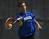 Zachary Khazzam of Roslyn returns a volley in the Nassau County varsity boys tennis doubles final at Oceanside High School on Sunday, May 21, 2017.