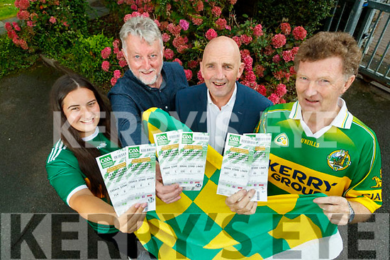 Kerry's Eye All Ireland Ticket winners, Emma Murphy from Killorglin, Micheál Fitzgerald, who collected the tickets on behalf of his partner Angela Buckley, Brendan Kennelly, Kerry's Eye and John O'Mahony. Ardfert