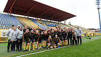 20191107 - Zapresic , BELGIUM : Belgian players and staff pictured with a red nose during a Matchday -1 training session before a  female soccer game between the womensoccer teams of  Croatia and the Belgian Red Flames , the third women football game for Belgium in the qualification for the European Championship round in group H for England 2021, Thursday 7 th october 2019 at the NK Inter Zapresic stadium near Zagreb , Croatia .  PHOTO SPORTPIX.BE | DAVID CATRY