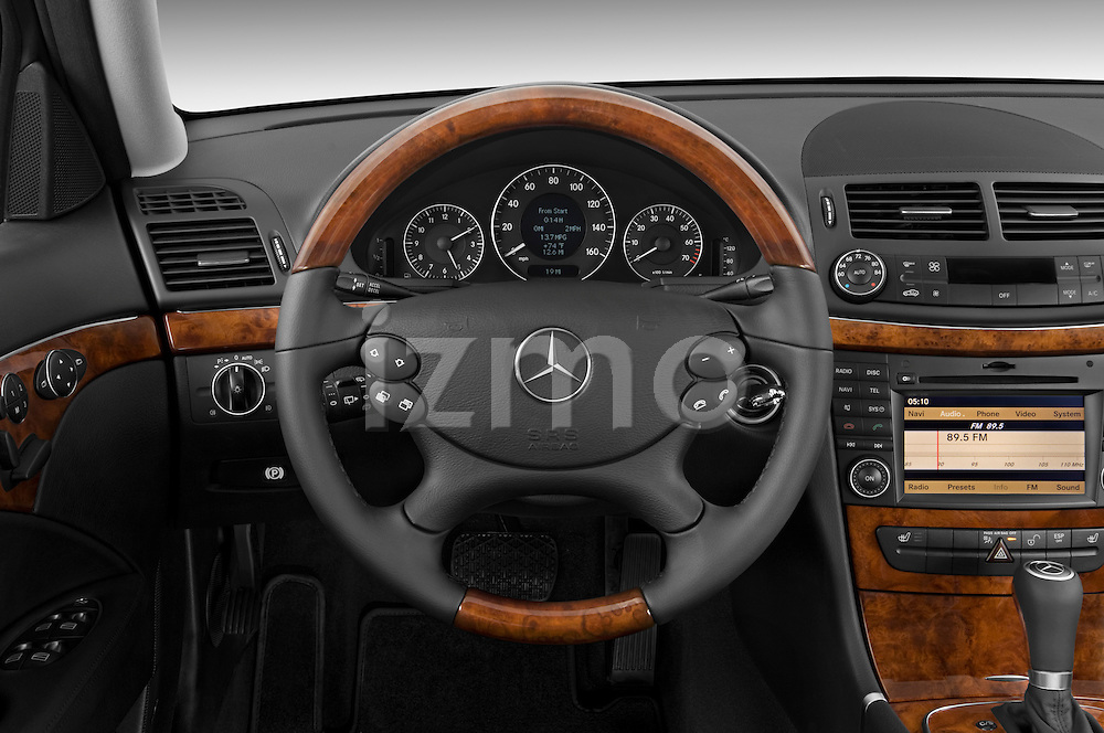 Steering wheel view of a 2009 Mercedes E Class Wagen 350