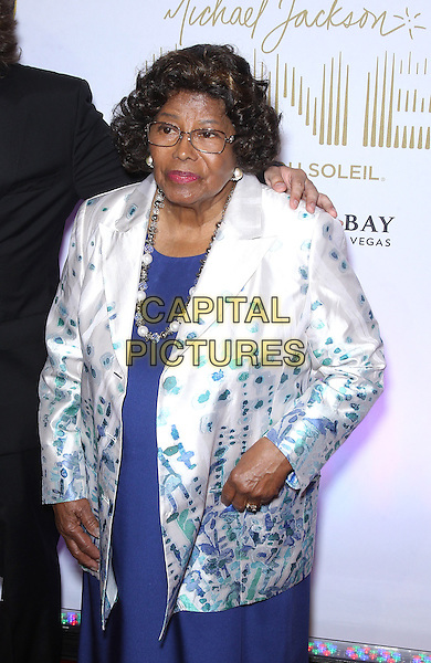 Katherine Jackson<br /> &quot;Michael Jackson One&quot; world premiere at Mandalay Bay Resort and Casino, Las Vegas, NV, USA, 29th April 2013.<br /> half length blue dress green white print coat jacket necklace beads <br /> CAP/ADM/MJT<br /> &copy; MJT/AdMedia/Capital Pictures