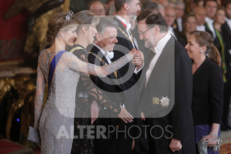 Spanish Royals host a dinner for the Colombian President Juan Manuel Santos and his wife Maria Clemencia Rodriguez in Madrid, Spain. In the pic: Queen Letizia of Spain and Mariano Rajoy. March 02, 2015. (Jose Luis Cuesta/POOL/ALTERPHOTOS)