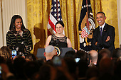 United States President Barack Obama and First Lady Michelle Obama attend the second Hanukkah reception of the day while Rabbi Rachel Isaacs speaks, in the East Room of the White House, December 14, 2016, Washington, DC. <br /> Credit: Aude Guerrucci / Pool via CNP