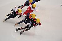 "SHORT TRACK: MOSCOW: Speed Skating Centre ""Krylatskoe"", 13-03-2015, ISU World Short Track Speed Skating Championships 2015, Evgeniya ZAKHAROVA (#058 | RUS), Yara VAN KERKHOF (#051 | NED), Bianca Walter (#025 | GER), ©photo Martin de Jong"