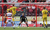 Fleetwood Town's Wes Burns diverts a James Coppinger's cross into his own net<br /> <br /> Photographer David Shipman/CameraSport<br /> <br /> The EFL Sky Bet League One - Doncaster Rovers v Fleetwood Town - Saturday 17th August 2019  - Keepmoat Stadium - Doncaster<br /> <br /> World Copyright © 2019 CameraSport. All rights reserved. 43 Linden Ave. Countesthorpe. Leicester. England. LE8 5PG - Tel: +44 (0) 116 277 4147 - admin@camerasport.com - www.camerasport.com