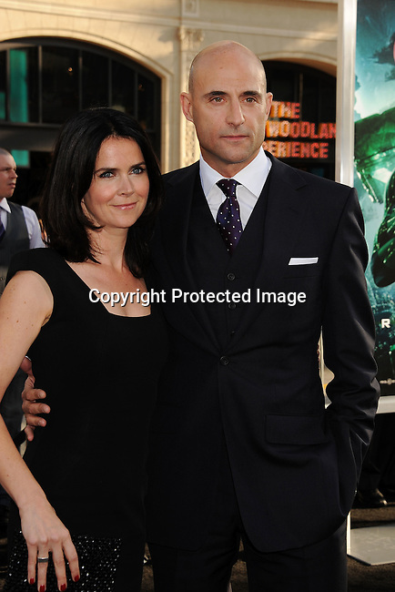 """HOLLYWOOD, {CA} -JUNE 15: Liza Marshall and Mark Strong  attend the """"Green Lantern"""" Los Angeles Premiere at Grauman's Chinese Theatre on June 15, 2011 in Hollywood, California."""