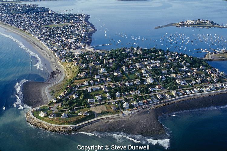 aerial view Hull peninsula, Boston harbor, MA