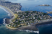 aerial view Hull peninsula, Boston harbor, MA