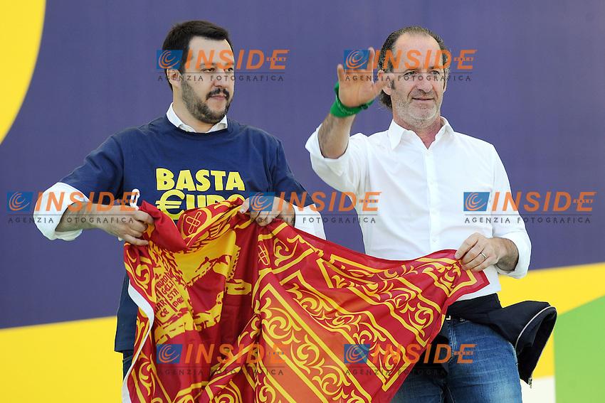 Matteo Salvini, Luca Zaia<br /> Pontida (Bg) 04/05/2014 <br /> raduno Lega Nord a Pontida - Lega Nord party Rally<br /> foto Andrea Ninni/Image/Insidefoto